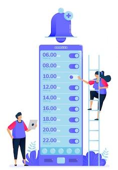 Vektorillustration für checkliste von alarm-apps zum aufwachen.