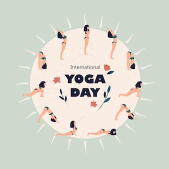 Vektorillustration für internationalen yoga-tag mit frau, die surya namaskar tut.
