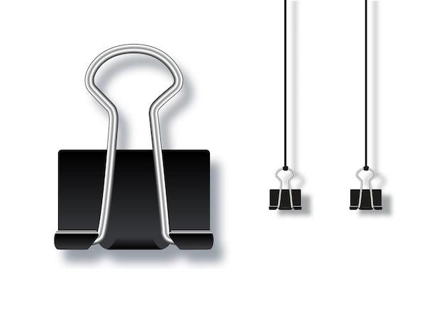 Vektorillustration für schwarze metallbüroklammern lokalisiert auf weißem hintergrund