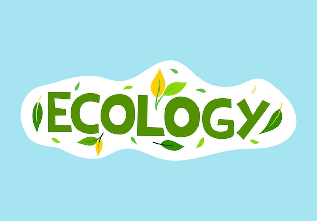 Vektorillustration grüne aufschrift ökologie mit blättern auf blauem hintergrund
