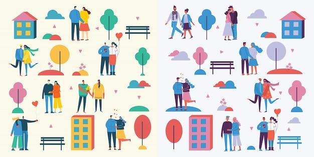 Vektorillustration im flachen entwurf von gruppenleuten in der liebe, in den paaren, in den herzen draußen im park. grußkarte am valentinstag im modernen flachen design