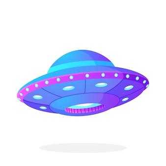 Vektorillustration im flachen stil ultraviolettes ufo mit lichtern alien-raumschiff