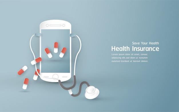 Vektorillustration im konzept der krankenversicherung.