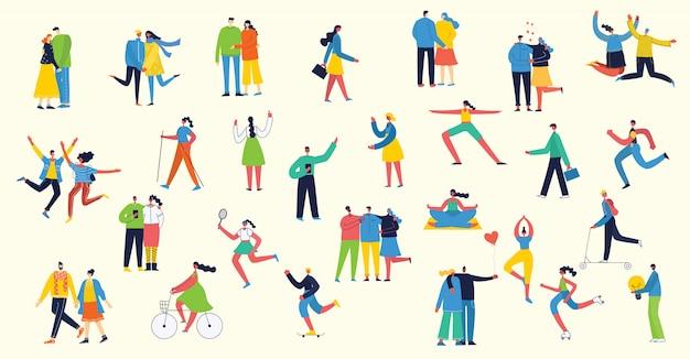 Vektorillustration in einem flachen stil der verschiedenen aktivitätenleute