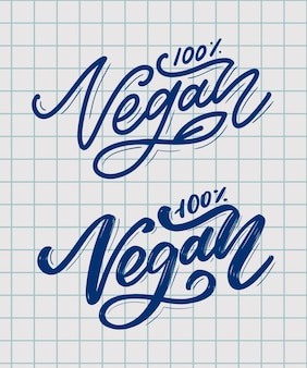 Vektorillustration, lebensmitteldesign. handgeschriebene beschriftung für restaurant, café-menü. vektorelemente für etiketten, logos, abzeichen, aufkleber oder symbole. kalligrafische und typografische sammlung. veganes menü