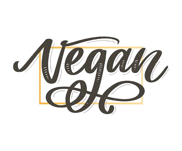 Vektorillustration, lebensmitteldesign. handschriftliche beschriftung für restaurant, café-menü. vektorelemente für etiketten, logos, abzeichen, aufkleber oder symbole. kalligraphische und typografische sammlung. veganes menü