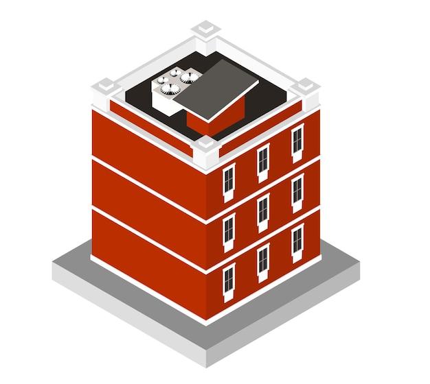 Vektorillustration lokalisiert auf weißem hintergrund. isometrische ikone, die modernes haus darstellt. städtisches wohngebäude mit fenstern und klimaanlage