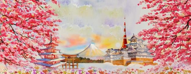 Vektorillustration malt aquarellreise-wahrzeichen, die von japan in asien berühmt sind. fuji berg, schöne architektur mit frühlingssaisonhintergrund, beliebte tourattraktionsgeschäftsstadt.