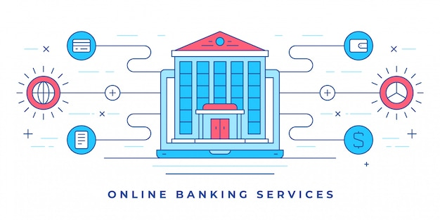 Vektorillustration mit aufbau auf smartphone und symbolen für website-online-banking