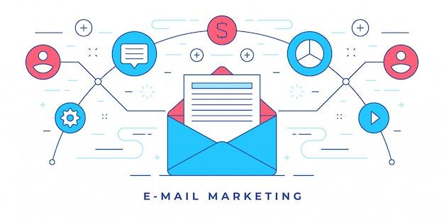 Vektorillustration mit briefumschlag und symbolen für website-werbung e-mail-marketing
