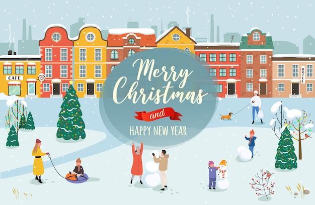 Vektorillustration mit dem glückwunsch der frohen weihnachten und eines guten neuen jahres.