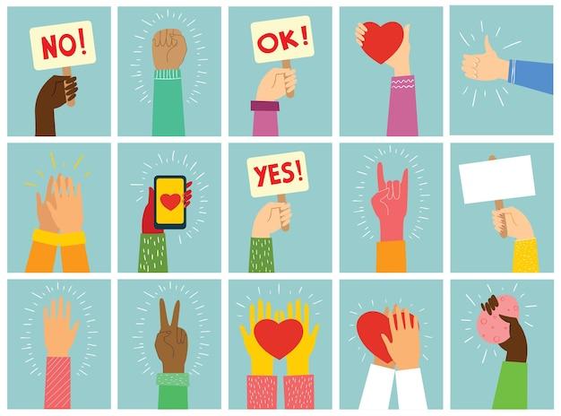 Vektorillustration mit den händen, die verschiedenes zeichen im modernen minimalistischen flachen design halten. ja oder nein konzepterstellung über motivation und die richtige wahl.