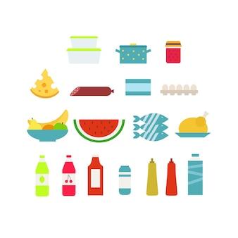 Vektorillustration mit den verschiedenen nahrungsmittelikonen, die auf weißem hintergrund lokalisiert werden.
