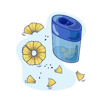 Vektorillustration mit einem anspitzer und bleistiftspäne. objekte sind isoliert. für ihre gestaltung.