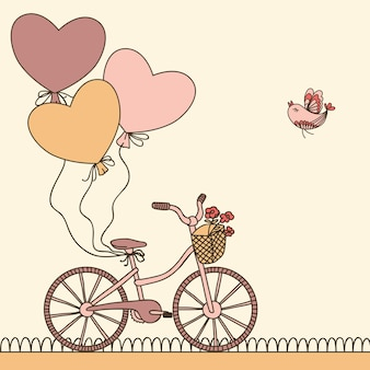 Vektorillustration mit fahrrad, luftballons und platz für ihren text. kann zum feiern, geburtstagskarte verwendet werden.