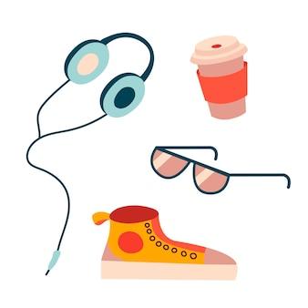 Vektorillustration mit kopfhörer-turnschuhen, einer tasse kaffee und gläsern in einem flachen stil
