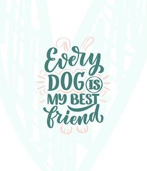 Vektorillustration mit lustigem gezeichnetem inspirierendem zitat der phrase hand über hunde