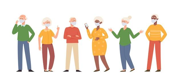 Vektorillustration mit stehenden alten männern und frauen in der medizinischen gesichtsmaske lokalisiert auf weiß. verschiedene hochrangige charaktere in präventionsmasken gegen luftverschmutzung in städten, durch die luft übertragene krankheiten und coronaviren.