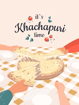 Vektorillustration mit vielen händen, die khachapuri und text halten es ist khachapuri-zeit.