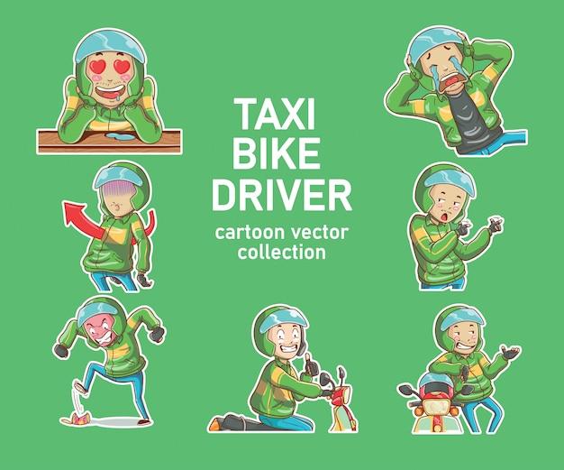 Vektorillustration online-taxi-fahrradfahrer-motorradantrieb ojek handgezeichnete cartoon-färbungsstil
