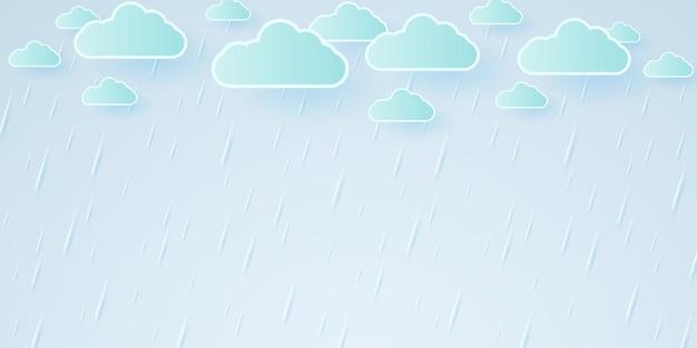 Vektorillustration, regensturm, regenhintergrund, regenzeit, papierkunstart