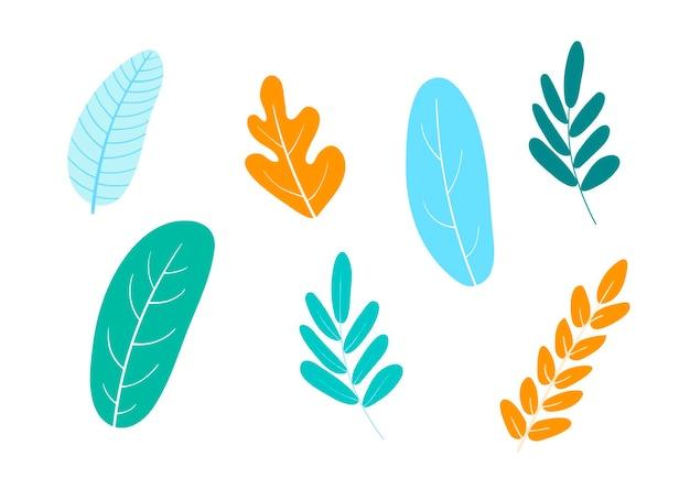 Vektorillustration, satz abstrakter pflanzen, blätter in der flachen, karikaturart. ideal für web, karte, poster, cover, einladung, broschüre in weißem hintergrund