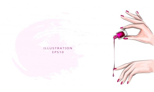 Vektorillustration. schöne klassische rote maniküre auf einer weiblichen hand mit nagellack. nahansicht. nagellack tropft auf die nägel.