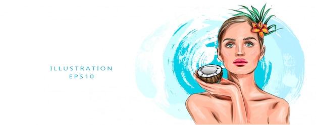 Vektorillustration schönheitsfrau mit kokosnussporträt. spa-modellmädchen, das eine kokosnuss hält. hübsches junges brünettes weibliches gesicht. hautpflege. junge leute. behandlung. schönes mode-mädchengesichtsmodell.