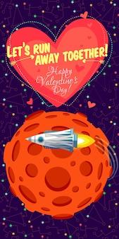 Vektorillustration über weltraum für valentinsgrußtag.