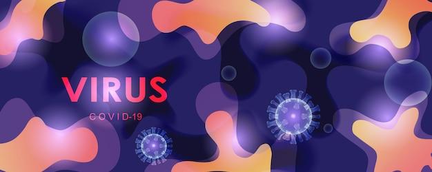 Vektorillustration von coronavirus-zellen auf einem abstrakten farbigen hintergrund. pandemie, epidemie, quarantäne, virusimpfstoff. eps 10.