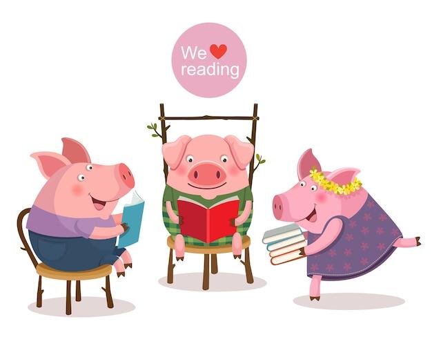 Vektorillustration von drei kleinen schweinen, die ein buch lesen