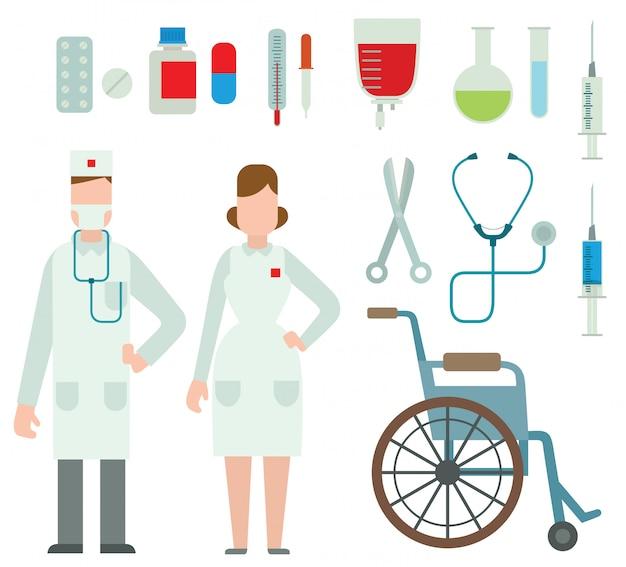 Vektorillustration von ebene farbigen krankenwagendoktoren.
