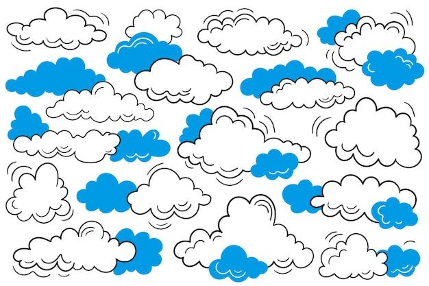 Vektorillustration von gekritzelwolken. schwarze handgezeichnete wolken. flache artvektorillustration.