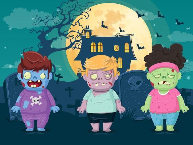 Vektorillustration von halloween auf mondnachthintergrund mit zombies. illustration für kinder- und kinderferiendesign, karten, banner