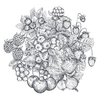 Vektorillustration von hand gezeichneten vektorbeeren. skizzenstil. schöne organische bouquetkomposition. erdbeere, kirsche, himbeere, stachelbeere, brombeere, moltebeere preiselbeere heidelbeere