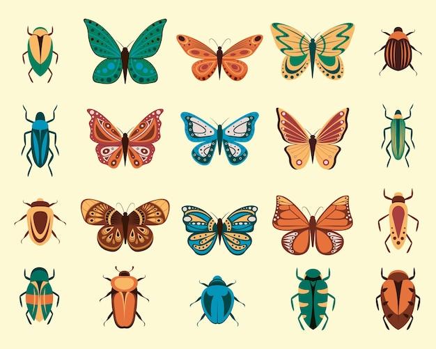 Vektorillustration von karikaturschmetterlingen und -wanzen lokalisiert auf weißem hintergrund. abstrakte schmetterlinge, buntes fliegendes insekt.