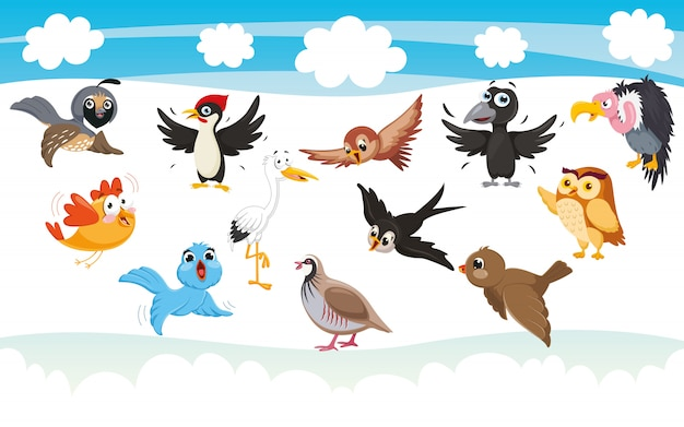 Vektorillustration von karikaturvögeln