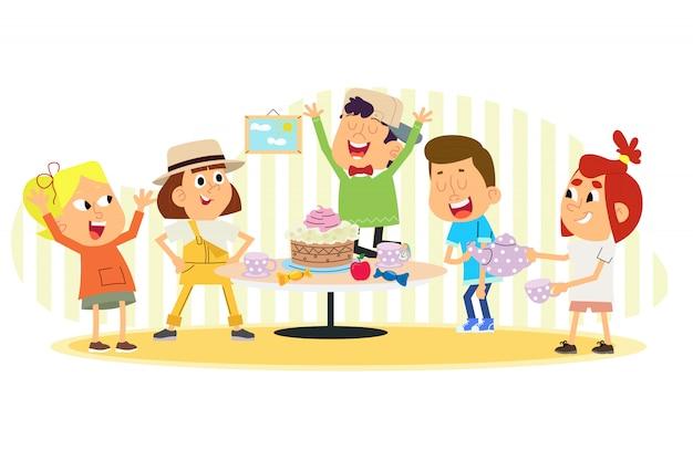 Vektorillustration von kindern, die geburtstag feiern