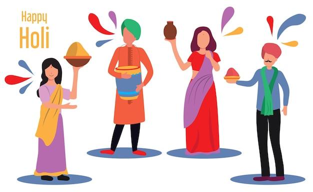 Vektorillustration von leuten mit gulals, die das holi-festival feiern