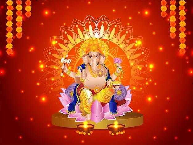 Vektorillustration von lord ganesha für glücklichen diwali-feierhintergrund