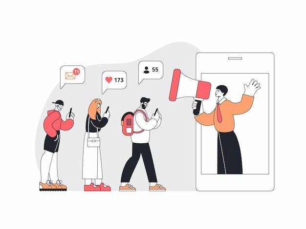 Vektorillustration von modernen männern und frau, die soziale medien auf gadgets nahe smartphone mit manager mit lautsprecher, der ankündigung macht, durchsuchen