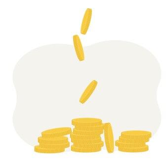 Vektorillustration von münzen mit vergrößerung. gewinn- und einkommenskonzept