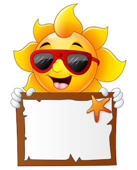 Vektorillustration von sun-charakterkarikatur
