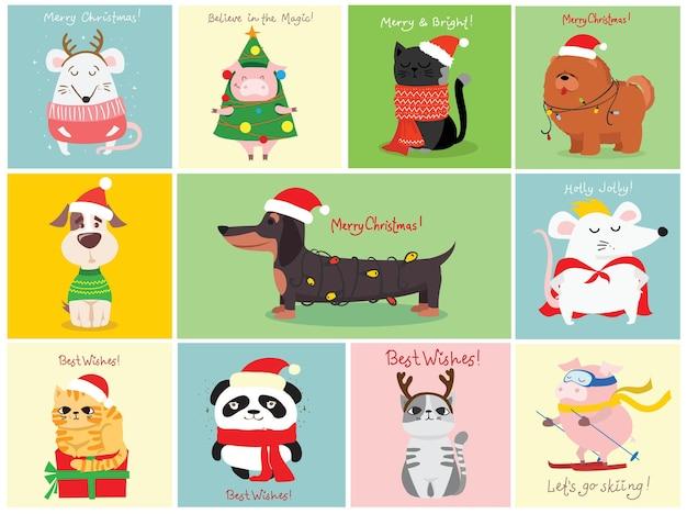 Vektorillustration von weihnachtskatzen, -ratten, -schweinen und -hunden mit weihnachts- und neujahrsgrüßen. süße haustiere mit weihnachtsmützen