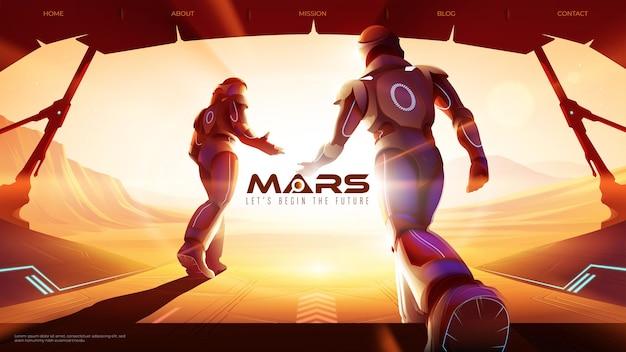 Vektorillustration von zwei astronauten gehen vom raumschiff nach außen auf dem mars hinaus