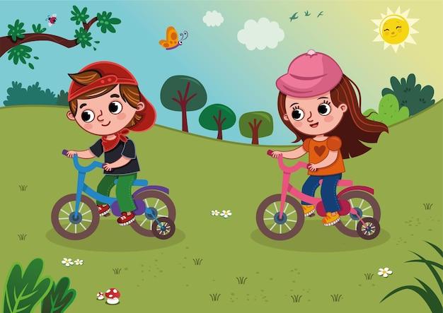Vektorillustration von zwei kindern, die ein fahrrad in der natur fahren