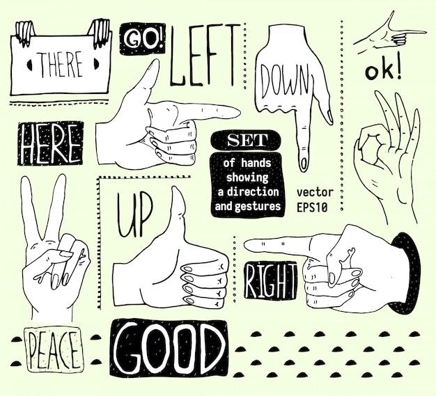 Vektorillustrationen von den schattenbildern stellten von den händen ein, die verschiedene gesten zeigen. hände gezeichnet