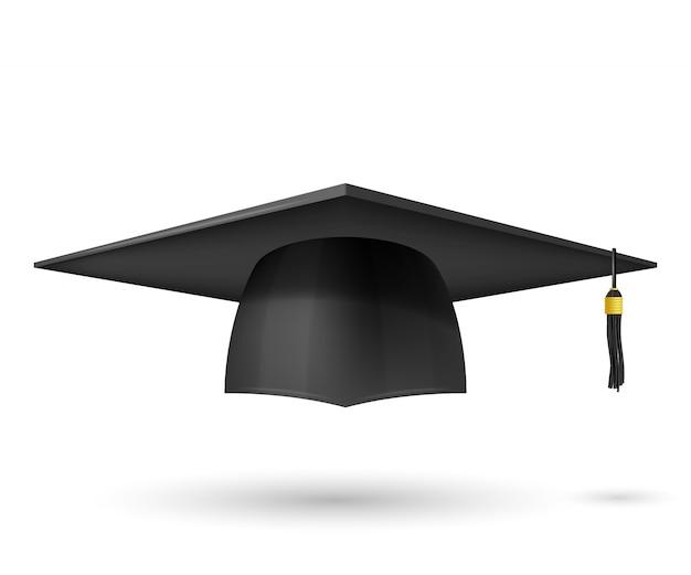 Vektorillustrations-absolventhut mit einer quaste. symbol-abschluss. das thema eines hochschulabsolventen ist ein traditioneller kopfschmuck.