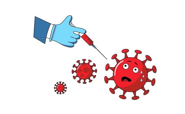Vektorillustrations-coronavirus-impfstoff ende des neuartigen corona-virus