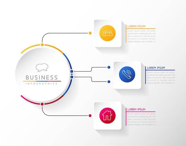 Vektorillustrations-infografik-designschablone geschäftsinformations-präsentationsdiagramm mit 3 o